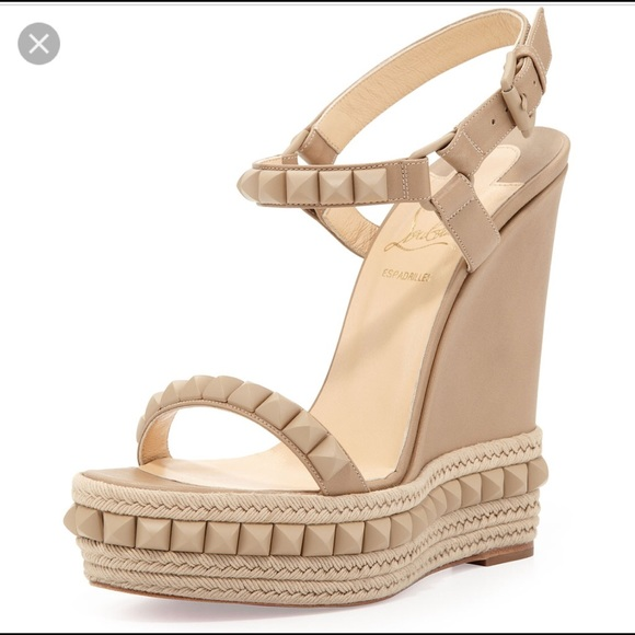2675a330ac49 Christian Louboutin Shoes - ISO  Christian Louboutin Cataclou Wedge Nude 38